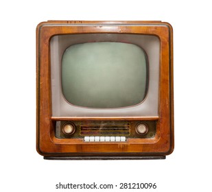 old brown TV, front view. retro Style