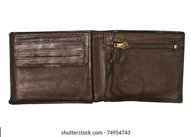 Old Brown wallet isolated on white background