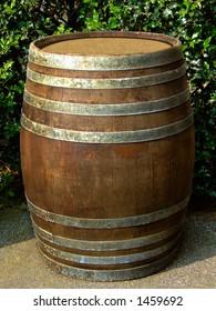 Old brown wooden barrel