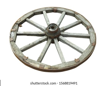 Old brown wooden wagon wheel from a cart isolated over white background