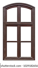 Old brown wooden window with arch and six pane on white background