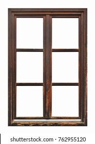 Old brown wooden window on white background