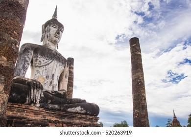 Old buddha image at Wat Mahathat, Sukhothai historical park, Sukhothai Thailand