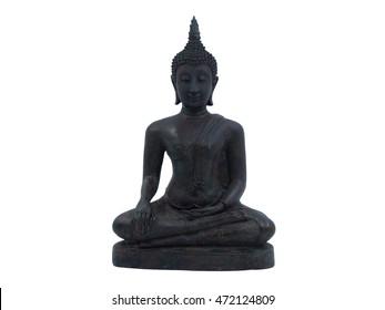 Old Buddha statue buddha image used as amulets of Buddhism religion isolated on white background