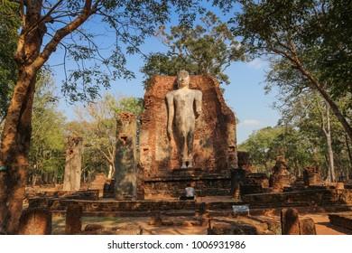 Old Buddha statue in Wat Phra Si Iriyabot in Kamphaeng Phet Historical Park. Kamphaeng Phet. Thailand