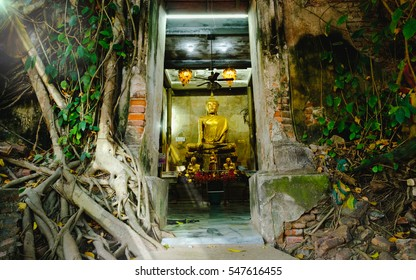 Old Buddha statues in the old church,covered with trees roots with lighting effect.. Wat Bang Kung, Samut Songkhram, Thailand