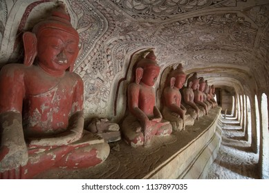 Old Buddha Statues at Pho Win Taung Caves,Monywa city,Sagaing State,Myanmar,Asia.
