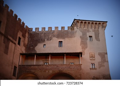 Old building with balcony and small windows, Pitigliano, Italy