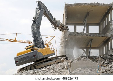 An old building being torn down; the entire building was gone a few hours later.