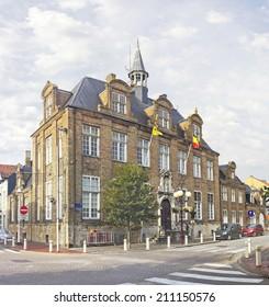 Old building  with the Cantonal Court (Vredegerecht) in Nieuwpoort, Belgium