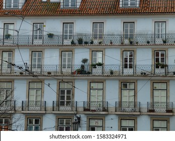 Old building with charming windows in Madrid