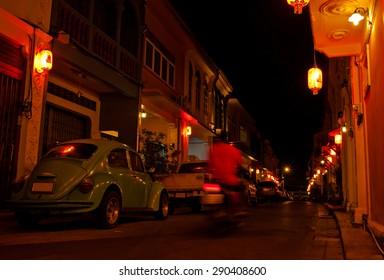 Old building Chino Portuguese style, street of phuket town at twilight, Phuket Thailand