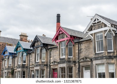 Old building with colorful gable in the suburb of Edinburgh, United Kingdom