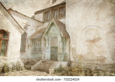 Old building in countryside. Image in in grunge style
