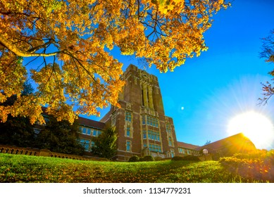 Old building during autumn sunset