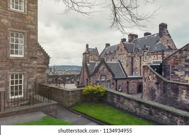 Old building of Edinburgh Castle Hospital located at the west courtyard inside Edinburgh Castle, popular tourist attraction and landmark of Edinburgh, Scotland, UK