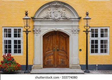 Old building facade in Aalborg, Denmark