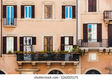 Old building facade on famous Piazza Navona in Rome. Piazza Navona. Rome. Italy