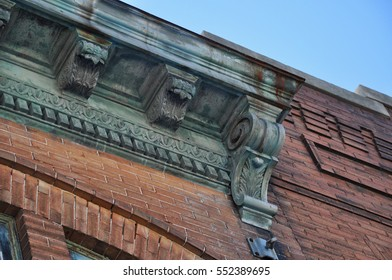Old Building With Fancy Accents - Architectural Image Focusing on Concrete Work - Chisholm, Minnesota