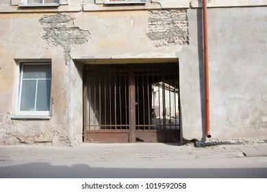 Old building main entrance gate facade