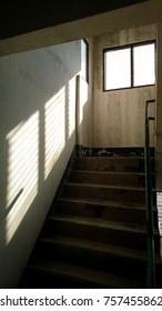 old building metal railing vinyl floor and window light