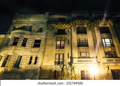 Old building at night in Mount Vernon, Baltimore, Maryland.