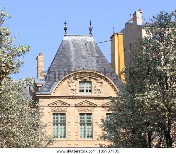 Old building in Paris in the spring.