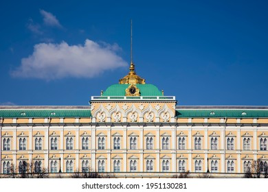 The old building of the presidential palace with a spire. Beautiful architecture of ancient Russia. Colorful facade. Golden spire. Sunny day.