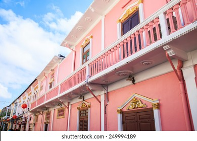 Old building Sino Portuguese style in Phuket , Thailand