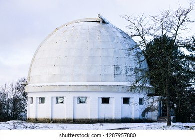 The old building of the solar telescope in the village of Nauchniy in Crimea. Special Astrophysical observatory of the Russian Science Academy