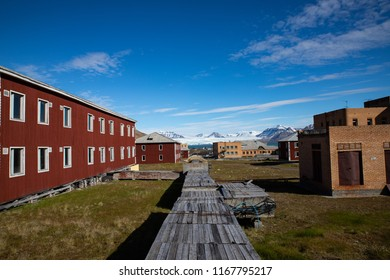 old building in the streets of Pyramiden on Svalbard, Norway