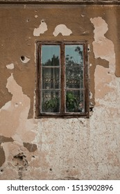 old building and window damaged during bosnian war