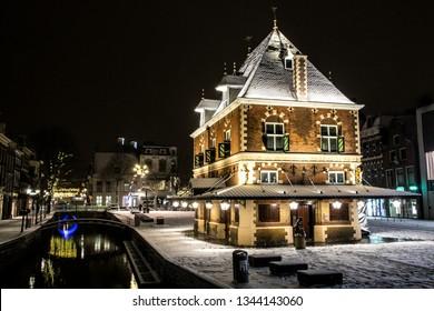 Old building in winter wonderland Leeuwarden (De Waag)