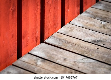 Old building wooden wall with free space for your content. Traditinal color and building material in Norway, Scandinavia, Europe.
