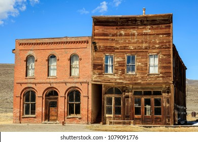Old buildings in an abandoned wild west ghost town, California, USA.