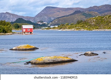 Old buildings or cabins, boathouses, Island Nautoya, Norway. Typical situation for the skerry coast.
