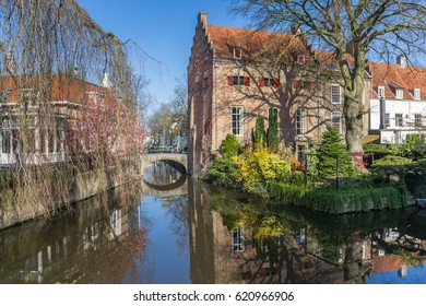 Old buildings at a canal in Amersfoort, Holland