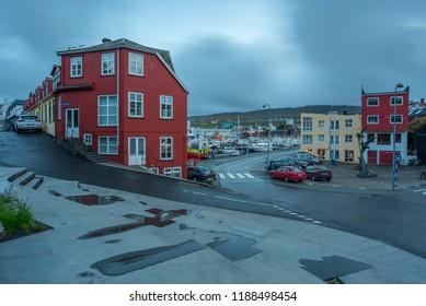 Old buildings in the city centre, cars, port. /Torshavn / faroe islands / 12 sept 2018