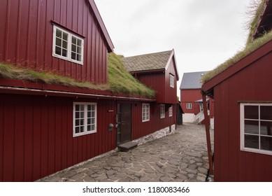 Old buildings in the city centre /Torshavn / faroe islands / 12 sept 2018