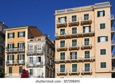 old buildings Corfu town Greece