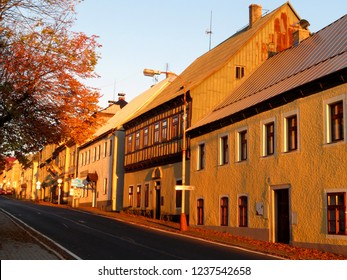 Old buildings during sunset in a town Horni Blatna, Czech Republic