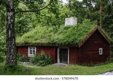 Old buildings in ethnographic park in Stockholm, Sweden.
