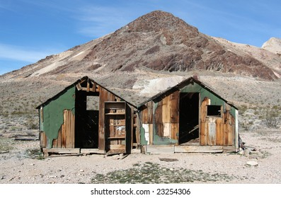 Old buildings in the ghost town of Rhyolite, Nevada