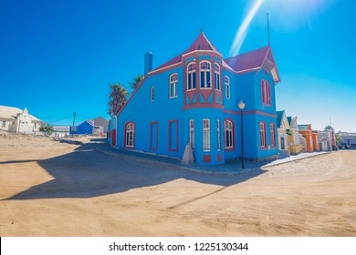 Old buildings in Luderitz city, Namibia.