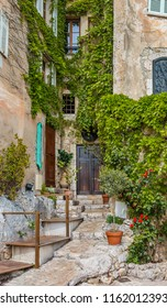 Old buildings and narrow streets in the picturesque medieval city of Eze Village in the South of France along the Mediterranean Sea