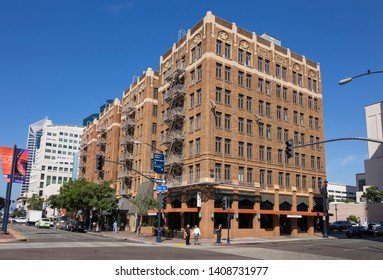 Old buildings on the corner of W Broadway and 1st Avenue, down town San Diego, California, USA September 24th 2016