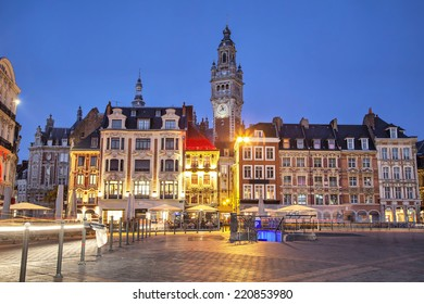 Old buildings on the Grand Place square at the evening, Lille, France