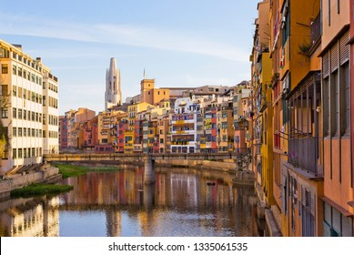 Old buildings on the riverbank in Girona, Catalonia, Spain