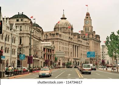 Old buildings and street view in Waitan of Shanghai