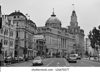 Old buildings and street view in Waitan of Shanghai in black and white